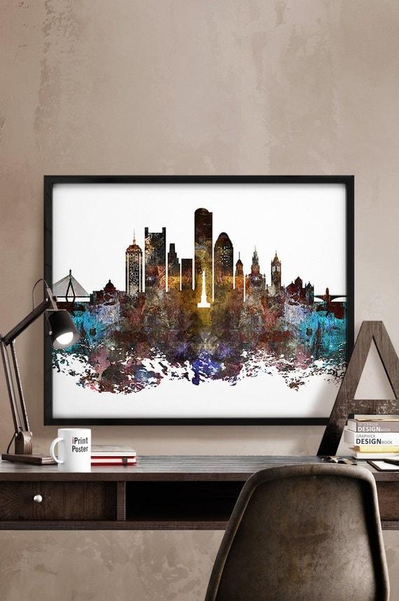 Boston Skyline Boston Abstract Art Print Boston By