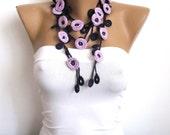 Purple Necklace/Lavender Necklace/ Crochet Jewelry/ Headband/Crochet Necklace/Beaded Necklace/Flowers Necklace/For Her/ALEGRIA