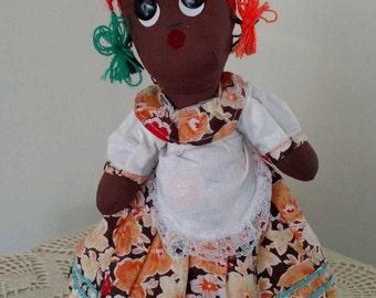Black Americana doll. Vintage style -  doll handmade doll. Folk art doll. Doll collector farmhouse decor. 11 inches tall.