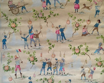 French wallpaper for a child's room depicting children's games