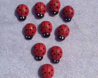 Set Of 20 Ladybugs 0.5 Inch Scrapbooking Craft Supplies