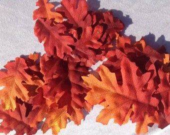 25 Artificial Oak Leaves Autumn Leaves Red Orange Fall Colors Scrapbooking Crafting Embellishments Wreaths