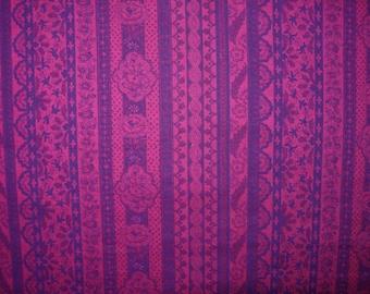 Cotton Fabric, Raspberry And Purple,  1 Yard
