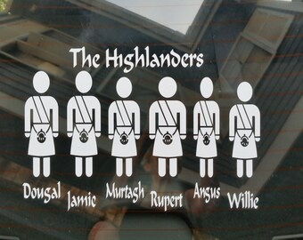The Highlanders Vintage style grouping incl Willie and Outlandered Inspired decal for window or any hard surface including vehicle, or wall