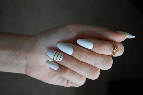 White Oval Nails