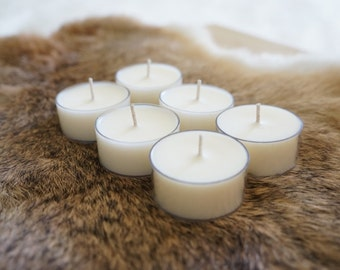 Pure Delight - Set of 6 Soy Tealights, Choose Your Scent/Unscented and Color