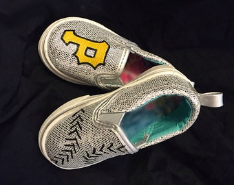 MLB Girl's Sparkly Hand Painted Canvas Shoes
