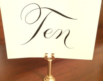 Set of 12 Tall Gold Table Number Holders