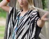 Animal Print Silk Dress  Summer Robes  Wedding Kaftan African Kaftan  Natural Hand Dyed Cotton  Tie Dye Dress   Made To Order