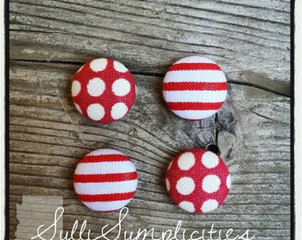 Red set fabric button earrings
