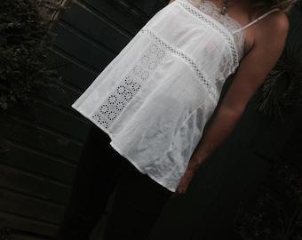 Boho White Cotton Broderie Anglaise Sun Top