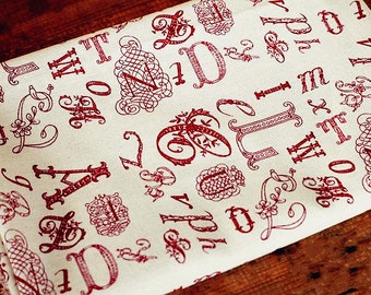 Vintage Red Letters Cotton Linen Fabric Alphabet Word on Fabric Cloth Curtain Quiltting Bag Home Decor Fabric- 1/2 yard