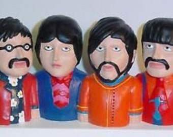 BEATLES Yellow Submarine Figural Coin Bank Beatles John Paul George & Ringo Import MIB