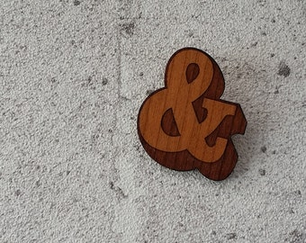 Ampersand - laser cut cherry wood brooch