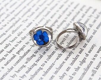 Blue Plum Blossom Resin Ring - Pressed Flower Encased in Resin, cabochon Ring, Handmade Jewelry