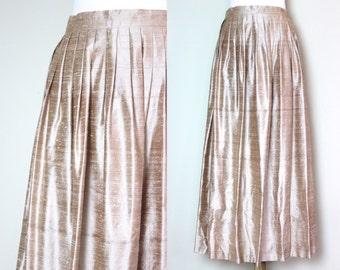 Vintage Taupe Silk Floor Length Skirt / Pleated Beige Silk Skirt /