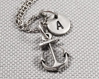 Anchor necklace, anchor charm, anchor jewelry, nautical necklace, nautical jewelry, personalize necklace, initial charm, monogram, ocean