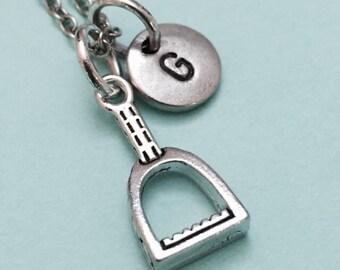 Stirrup necklace, stirrup charm, western necklace, personalized necklace, initial necklace, initial charm, monogram