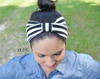 Extra Wide Black and White Stripe Headband