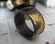 Scorched Earth Mens Wedding Band Black Gold Ring Mens Wedding Ring Unique Oxidized Silver 9mm Ring Commitment Ring Distressed Ring Artisan