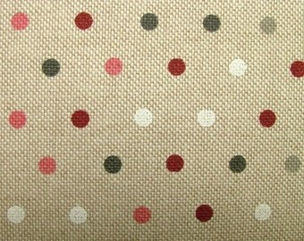 Polka Dot Spot Natural Linen Look Fabric - Curtains Blinds Upholstery Patchwork Quilting Use …