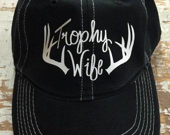 Trophy wife hat baseball cap cotton twill black baseball cap trophy wife deer antlers new