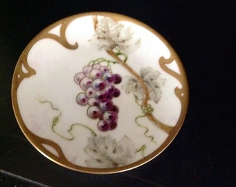 Vintage Hand Painted Porcelain Plate Grape and Leaves Design