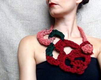 OOAK gift for her, sari silk crochet, silk jewelry, free form crochet, crochet necklace, multi color necklace, red necklace