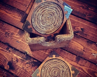 Wood and twine  Drink Coasters