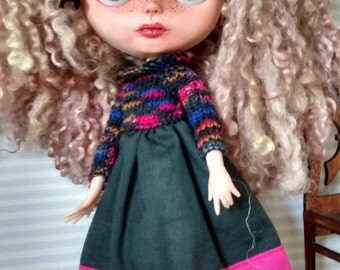 Blythe Pullip handmade knitting dress pink, green