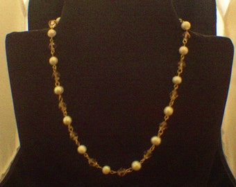 freshwater pearls and bicone crystals necklace