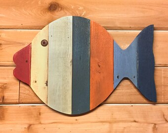 "Tropical decor Painted Wood Fish Wall Hanging - 20""  reclaimed lumber - for beach decor, nautical theme, fish nursery decor, or ocean decor"