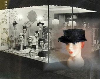 Vintage Black Lady's Designer Hat by Eva Mae, Circa 1950s