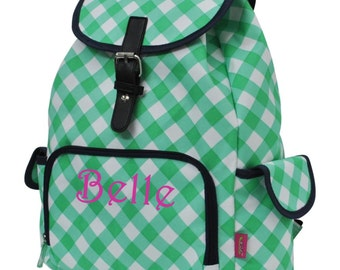 Monogram Backpack Mint Plaid Print Drawstring Backpack