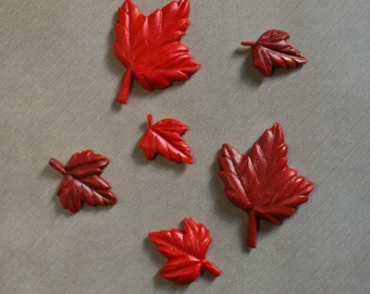 Fondant cupcake toppers - Autumn Leaves - Maple Leaf - Fall colors - edible decorations