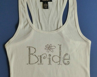 Bridal Tank Top - Bridesmaid Tank Top - Bride with Flower Tank Top