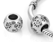 Authentic Silver charm puppy paws sterling silver charm fits pandora bracelet jewelry