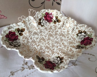 Old Foley, James Kent Ltd. Serving Dish.  Red and White Rose Chintz Scalloped Edged Dish. Staffordshire England