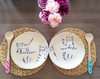 Set of two ceramic plates illustrated