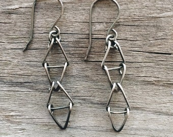 Oxidized Sterling Silver Reticulating Triangle Earrings