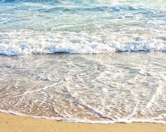 Ocean Photography, Waves, Beach Photo, Beach Wall Art, California Beach Print, Ocean Photo Art ,Large Wall Art,Teal, Blue-Grey,White, Beige