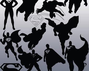 12 Superman Silhouette Clipart Images, Clipart Design Elements, Instant Download, Black Silhouette Clip art
