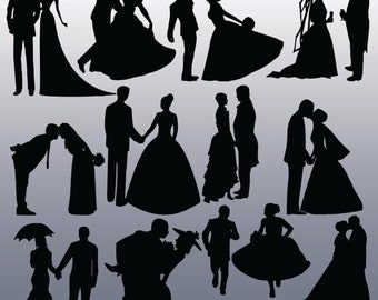 12 Bride and Groom Silhouette Digital Clipart Images, Clipart Design Elements, Instant Download, Black Silhouette Clip art