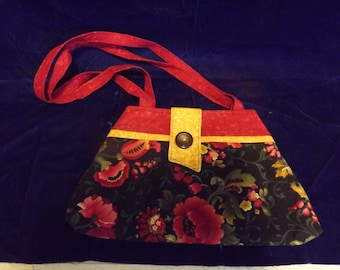 Hand Made Red and Black/Red Floral Lined Purse