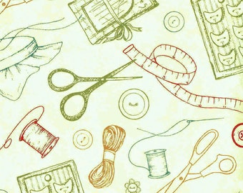 Sew..A Needle Pulling Thread by Cat Williams for South Sea Imports  #98124-773 Green Tossed Sewing Notions