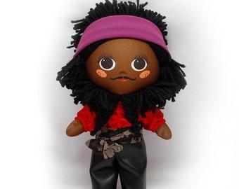 """Cloth doll 12"""" (30 cm) MADE TO ORDER. Black boy doll Cloth doll Art doll Modern doll Rag doll Unique gift"""
