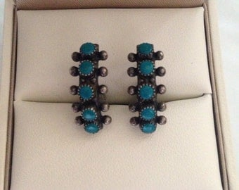 Sterling Silver Turquoise Petit Point Earrings