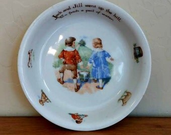 Baby Bowl Jack and Jill Germany Vintage Child's Bowl