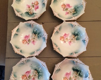 Set of 6 Hand Painted Rose Bowls from Prussia