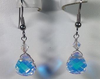 Swarovski Crystal Iridescent Teardrop Earrings -SCD022